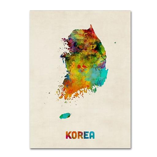 "Trademark Fine Art ''Korea Watercolor Map'' by Michael Tompsett 35"" x 47"" Canvas Art (MT0736-C3547GG)"