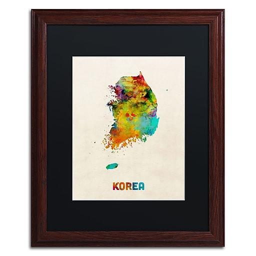 "Trademark Fine Art ''Korea Watercolor Map'' by Michael Tompsett 16"" x 20"" Black Matted Wood Frame (MT0736-W1620BMF)"