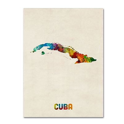Trademark Fine Art ''Cuba Watercolor Map'' by Michael Tompsett 24