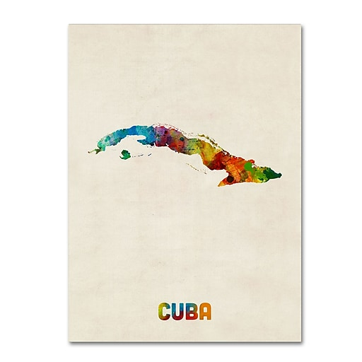 "Trademark Fine Art ''Cuba Watercolor Map'' by Michael Tompsett 35"" x 47"" Canvas Art (MT0737-C3547GG)"