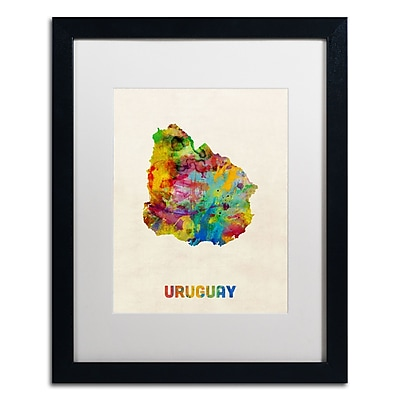 Trademark Fine Art ''Uruguay Watercolor Map'' by Michael Tompsett 16