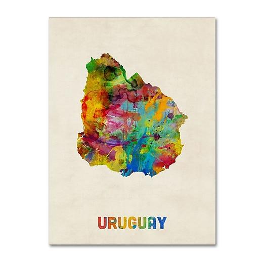 "Trademark Fine Art ''Uruguay Watercolor Map'' by Michael Tompsett 24"" x 32"" Canvas Art (MT0738-C2432GG)"