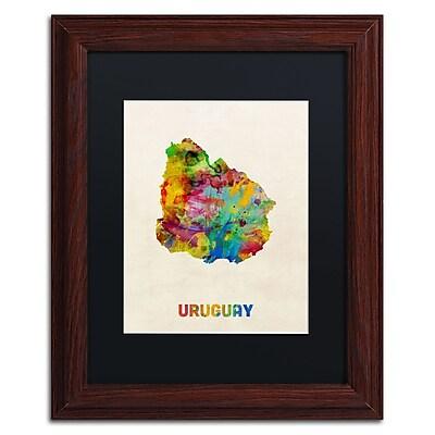 Trademark Fine Art ''Uruguay Watercolor Map'' by Michael Tompsett 11