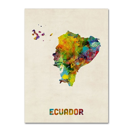 "Trademark Fine Art ''Ecuador Watercolor Map'' by Michael Tompsett 35"" x 47"" Canvas Art (MT0739-C3547GG)"