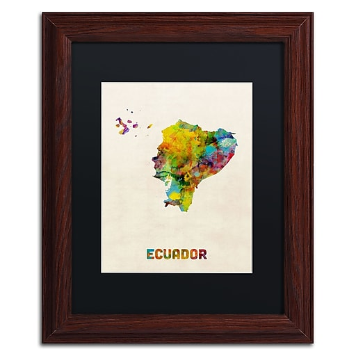 "Trademark Fine Art ''Ecuador Watercolor Map'' by Michael Tompsett 11"" x 14"" Black Matted Wood Frame (MT0739-W1114BMF)"