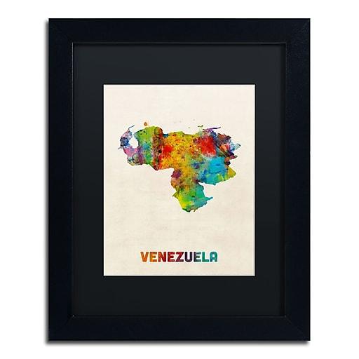 "Trademark Fine Art ''Venezuela Watercolor Map'' by Michael Tompsett 11"" x 14"" Black Matted Black Frame (MT0740-B1114BMF)"