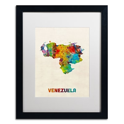 Trademark Fine Art ''Venezuela Watercolor Map'' by Michael Tompsett 16