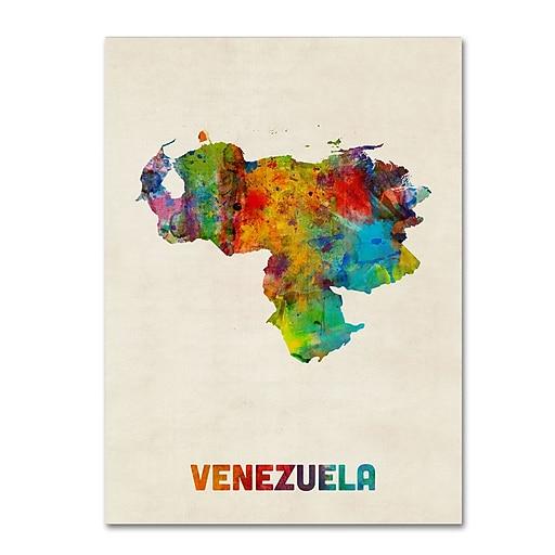 "Trademark Fine Art ''Venezuela Watercolor Map'' by Michael Tompsett 35"" x 47"" Canvas Art (MT0740-C3547GG)"