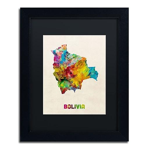 "Trademark Fine Art ''Bolivia Watercolor Map'' by Michael Tompsett 11"" x 14"" Black Matted Black Frame (MT0741-B1114BMF)"