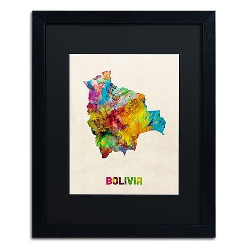 "Trademark Fine Art ''Bolivia Watercolor Map'' by Michael Tompsett 16"" x 20"" Black Matted Black Frame (MT0741-B1620BMF)"