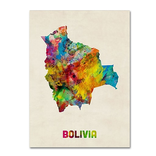 "Trademark Fine Art ''Bolivia Watercolor Map'' by Michael Tompsett 35"" x 47"" Canvas Art (MT0741-C3547GG)"