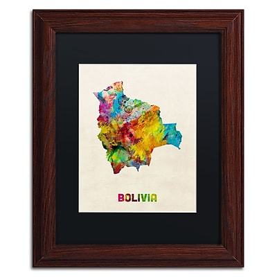 Trademark Fine Art ''Bolivia Watercolor Map'' by Michael Tompsett 11