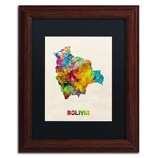 """Trademark Fine Art ''Bolivia Watercolor Map'' by Michael Tompsett 11"""" x 14"""" Black Matted Wood Frame (MT0741-W1114BMF)"""