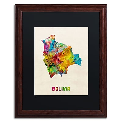 Trademark Fine Art ''Bolivia Watercolor Map'' by Michael Tompsett 16