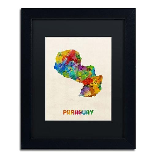 "Trademark Fine Art ''Paraguay Watercolor Map'' by Michael Tompsett 11"" x 14"" Black Matted Black Frame (MT0742-B1114BMF)"