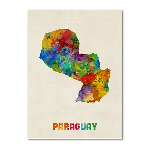 "Trademark Fine Art ''Paraguay Watercolor Map'' by Michael Tompsett 18"" x 24"" Canvas Art (MT0742-C1824GG)"