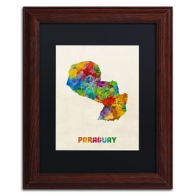 Trademark Fine Art ''Paraguay Watercolor Map'' by Michael Tompsett 11