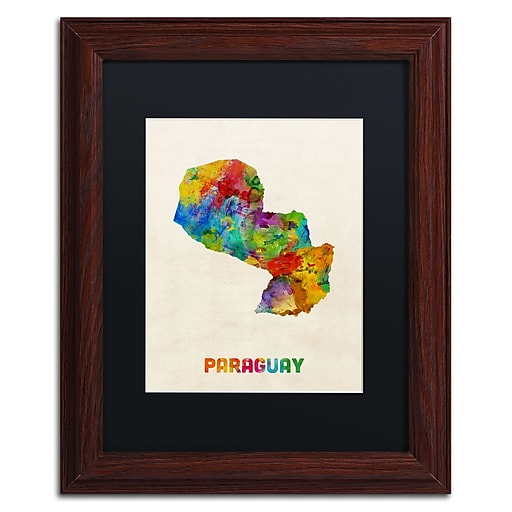 "Trademark Fine Art ''Paraguay Watercolor Map'' by Michael Tompsett 11"" x 14"" Black Matted Wood Frame (MT0742-W1114BMF)"