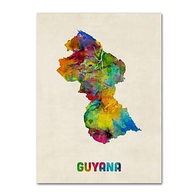 Trademark Fine Art ''Guyana Watercolor Map'' by Michael Tompsett 35