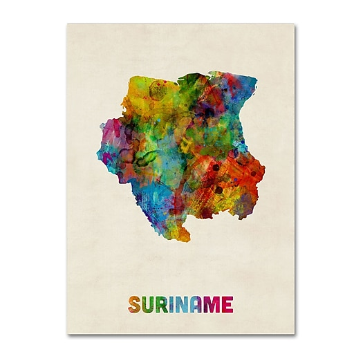 "Trademark Fine Art ''Suriname Watercolor Map'' by Michael Tompsett 18"" x 24"" Canvas Art (MT0744-C1824GG)"