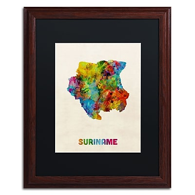 Trademark Fine Art ''Suriname Watercolor Map'' by Michael Tompsett 16