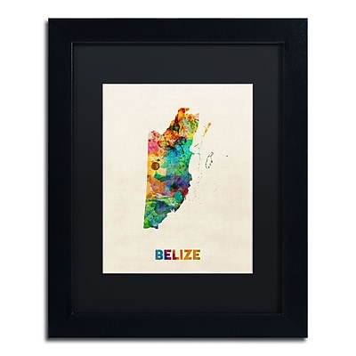Trademark Fine Art ''Belize Watercolor Map'' by Michael Tompsett 11