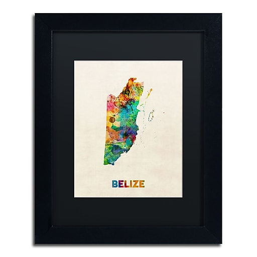 "Trademark Fine Art ''Belize Watercolor Map'' by Michael Tompsett 11"" x 14"" Black Matted Black Frame (MT0745-B1114BMF)"