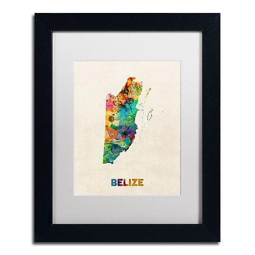 "Trademark Fine Art ''Belize Watercolor Map'' by Michael Tompsett 11"" x 14"" White Matted Black Frame (MT0745-B1114MF)"
