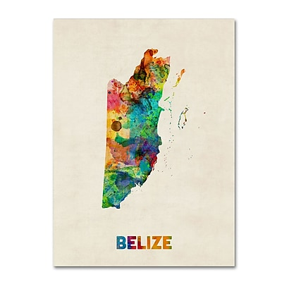 Trademark Fine Art ''Belize Watercolor Map'' by Michael Tompsett 24
