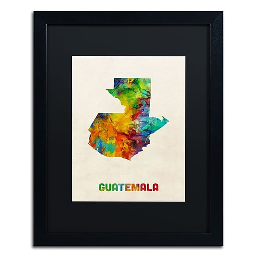 "Trademark Fine Art ''Guatemala Watercolor Map'' by Michael Tompsett 16"" x 20"" Black Matted Black Frame (MT0746-B1620BMF)"