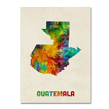 Trademark Fine Art ''Guatemala Watercolor Map'' by Michael Tompsett 24
