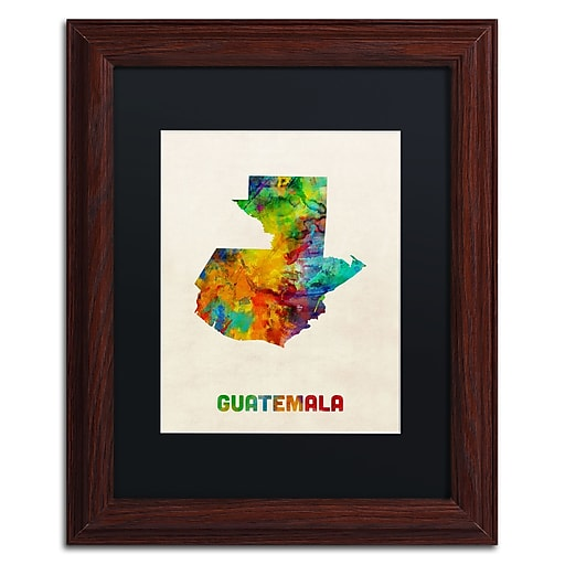 "Trademark Fine Art ''Guatemala Watercolor Map'' by Michael Tompsett 11"" x 14"" Black Matted Wood Frame (MT0746-W1114BMF)"