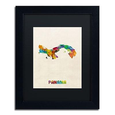 "Trademark Fine Art ''Panama Watercolor Map'' by Michael Tompsett 11"" x 14"" Black Matted Black Frame (MT0747-B1114BMF)"