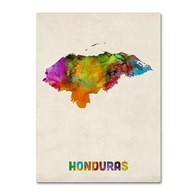 Trademark Fine Art ''Honduras Watercolor Map'' by Michael Tompsett 24