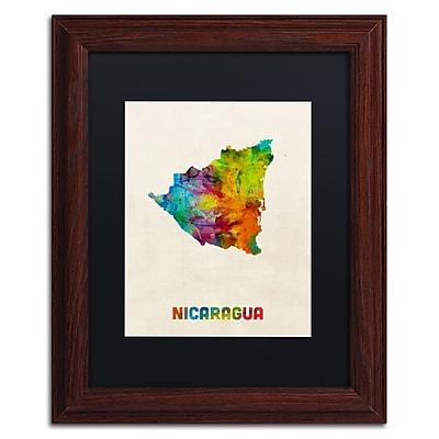 Trademark Fine Art ''Nicaragua Watercolor Map'' by Michael Tompsett 11