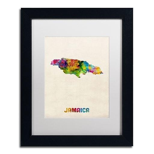 "Trademark Fine Art ''Jamaica Watercolor Map'' by Michael Tompsett 11"" x 14"" White Matted Black Frame (MT0750-B1114MF)"