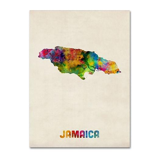 """Trademark Fine Art ''Jamaica Watercolor Map'' by Michael Tompsett 24"""" x 32"""" Canvas Art (MT0750-C2432GG)"""