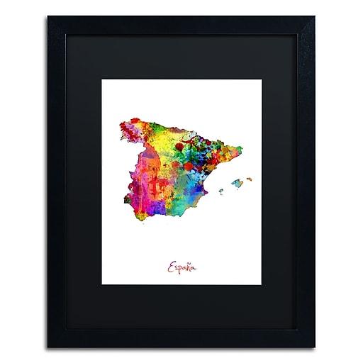 "Trademark Fine Art ''Spain Watercolor Map'' by Michael Tompsett 16"" x 20"" Black Matted Black Frame (MT0751-B1620BMF)"