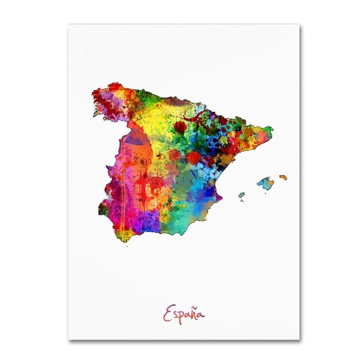 "Trademark Fine Art ''Spain Watercolor Map'' by Michael Tompsett 14"" x 19"" Canvas Art (MT0751-C1419GG)"