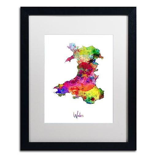 "Trademark Fine Art ''Wales Watercolor Map'' by Michael Tompsett 16"" x 20"" White Matted Black Frame (MT0752-B1620MF)"