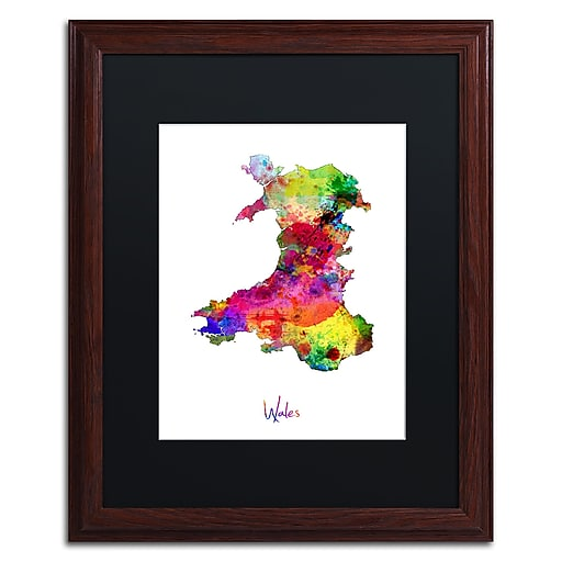 """Trademark Fine Art ''Wales Watercolor Map'' by Michael Tompsett 16"""" x 20"""" Black Matted Wood Frame (MT0752-W1620BMF)"""
