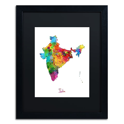 "Trademark Fine Art ''India Watercolor Map'' by Michael Tompsett 16"" x 20"" Black Matted Black Frame (MT0753-B1620BMF)"