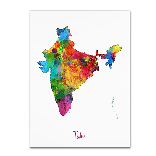 "Trademark Fine Art ''India Watercolor Map'' by Michael Tompsett 24"" x 32"" Canvas Art (MT0753-C2432GG)"