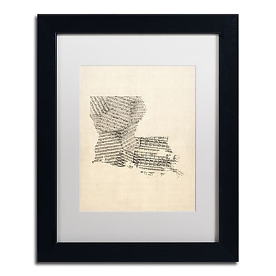 Trademark Fine Art ''Old Sheet Music Map of Louisiana'' by Michael Tompsett 11