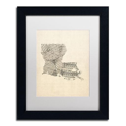 "Trademark Fine Art ''Old Sheet Music Map of Louisiana'' by Michael Tompsett 11""x14"" Black Frame (MT0754-B1114MF)"