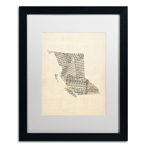 "Trademark Fine Art ''Sheet Music Map British Columbia'' by Michael Tompsett 16"" x 20"" White Matted Black Frame (MT0755-B1620MF)"