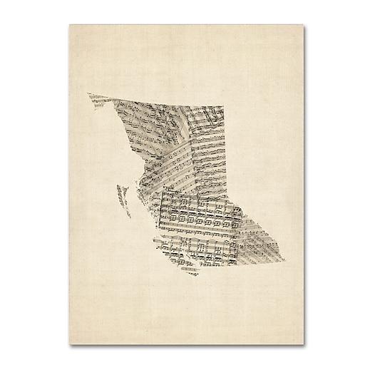 "Trademark Fine Art ''Old Sheet Music Map of British Columbia'' by Michael Tompsett 35"" x 47"" Canvas (MT0755-C3547GG)"