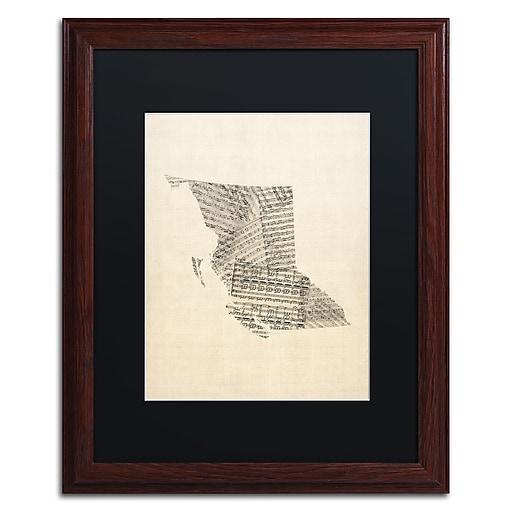 "Trademark Fine Art ''Sheet Music Map British Columbia'' by Michael Tompsett 16"" x 20"" Black Matted Wood Frame (MT0755-W1620BMF)"