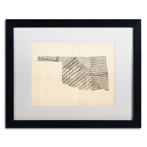 "Trademark Fine Art ''Old Sheet Music Map of Oklahoma'' by Michael Tompsett 16"" x 20"" Black Frame (MT0756-B1620MF)"