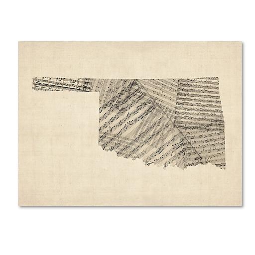 "Trademark Fine Art ''Old Sheet Music Map of Oklahoma'' by Michael Tompsett 14"" x 19"" Canvas Art (MT0756-C1419GG)"